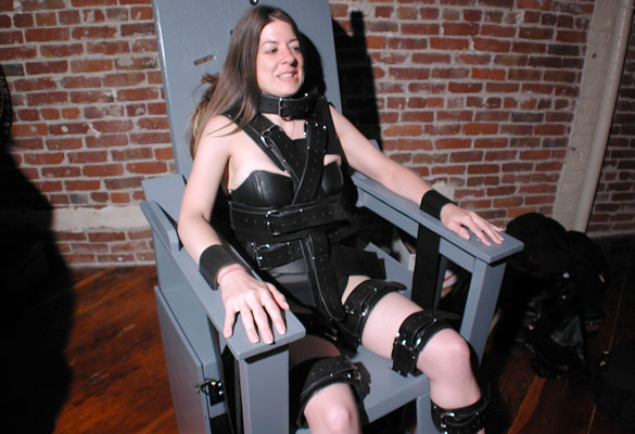 Girl in bondage chair Girl Leather Bondage Chair Bdsm Fetish